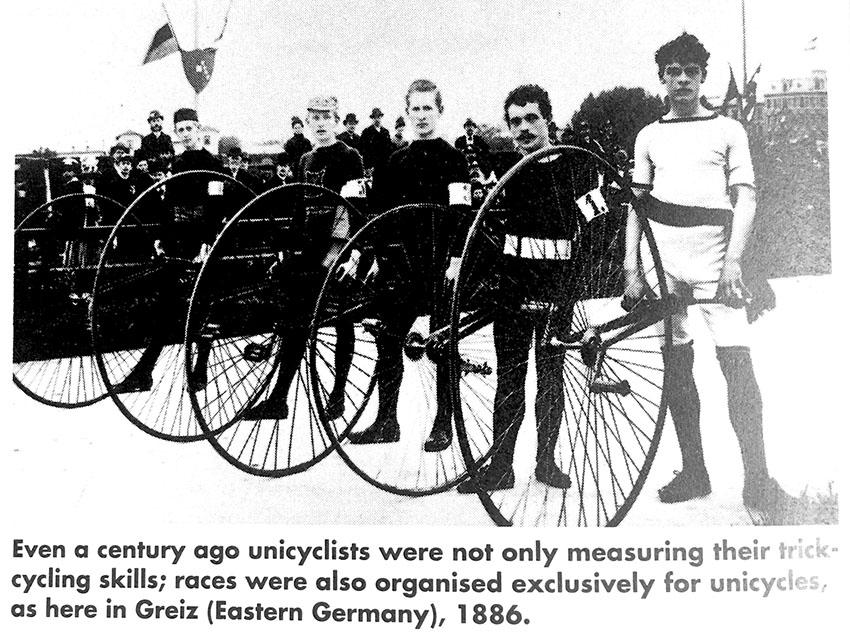 Моноциклы 1891 года из велосипедов