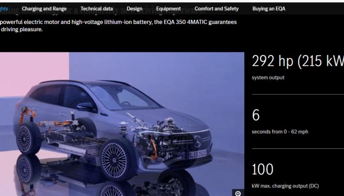 Mercedes-Benz EQA 350 4Matic характеристики