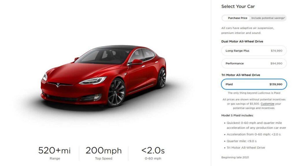 Tesla Model S Plaid описание
