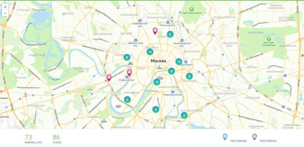 Карта парковок электромобилей в Москве