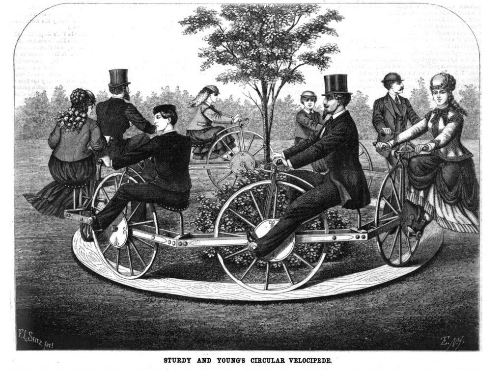 Круговой велосипед Стерди и Янга 1869 год