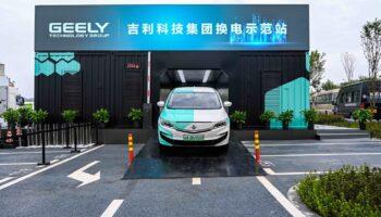 станция по замене аккумуляторов в электромобилях geely