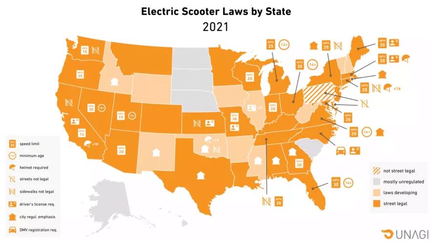 Ограничения для электросамокатов по штатам в США