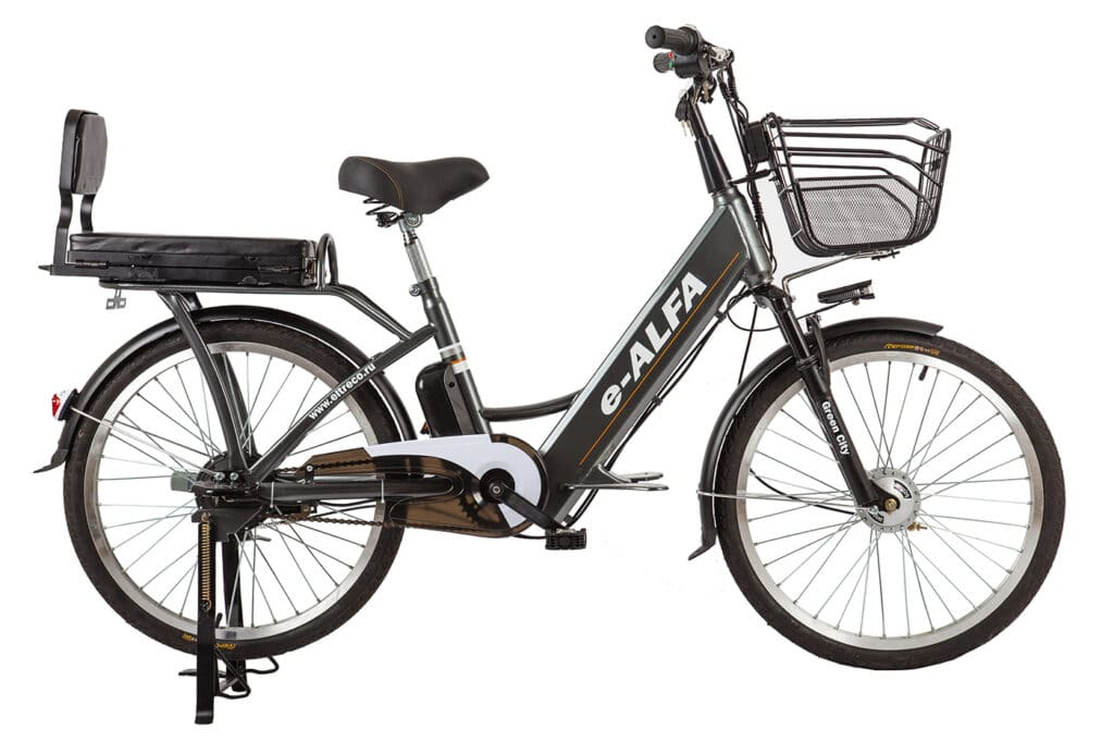 велогибрид E-ALFA с седлом для ребенка