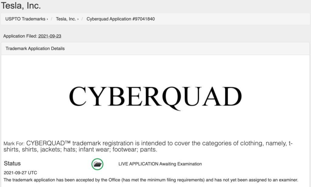 арегистрирована торговая марка Tesla Cyberquad
